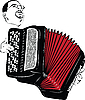 Musician plays the accordion | Stock Vector Graphics