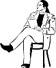Vector clipart: man reading while sitting on wooden chair