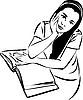 Vector clipart: sketch of girl at table with book