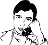 Vector clipart: guy talking on phone