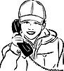 Vector clipart: boy wearing cap with handset