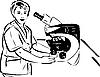 Vector clipart: woman in lab next to microscope