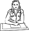Vector clipart: girl recording on paper