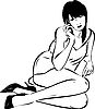 Vector clipart: girl talking on phone