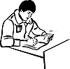 Vector clipart: writer sitting at table