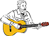 Vector clipart: bard playing guitar