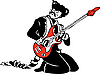 Vector clipart: cat actor plays electric guitar