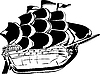 Vector clipart: wooden vessel under sail