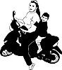 Vector clipart: girl on motor scooter with boy