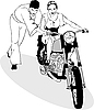 Vector clipart: boy and girl riding on motorcycle