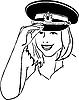 Vector clipart: girl in military cap