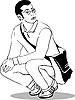 Vector clipart: guy with glasses perches on his haunches