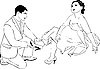Vector clipart: guy puts on shoe to his girlfriend