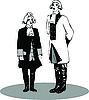 Vector clipart: Two men in retro costumes