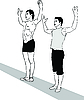Vector clipart: two guys with their hands