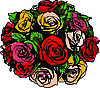 bouquet of colorful roses on white background | Stock Vector Graphics