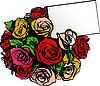Vector clipart:  bouquet of colorful roses on white background