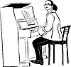 Vector clipart:  woman pianist in glasses
