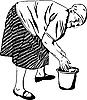 Vektor Cliparts: Oma wäscht seine Hände in einen Eimer