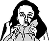Vector clipart: girl with disturbing signt