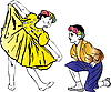 Vector clipart: boy in garland on her knees