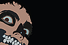 Vector clipart:  face of clown with frightful teeth
