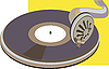 Vector clipart:  old vinyl disk on phonograph