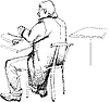 Vector clipart:  man in an overcoat at table from back