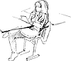 Vector clipart: blonde at table on chair