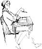Vector clipart: girl after school desk