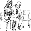 Vector clipart: guy and girl read on chairs