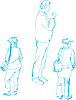 Vector clipart: of fellow dark blue by pencil