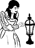 Vector clipart: a girl near street light