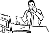 Vector clipart: man talking on phone