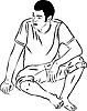 Vector clipart: barefoot boy sits leaning on arm