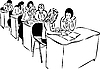 Vector clipart: girls in audience sitting at table