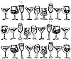 Vector clipart: glasses with alcohol drinks
