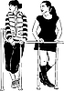 Vector clipart:  of two women looking in right direction