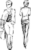 Vector clipart: Sketch of two girls going in different directions
