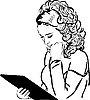 Vector clipart: blonde carefully reads the menu