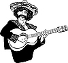 Vector clipart: Mexican men singing and playing guitar