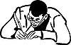 Vector clipart: man with glasses writing quill pen