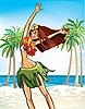 Векторный клипарт: счастливая гавайиская девушка