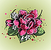 Векторный клипарт: небольшой яркий букет из роз и подснежников