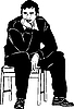 Vector clipart: man thought sitting on stool