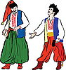 Vector clipart:  two Ukrainian men in their national costumes