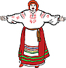 Vector clipart: fat woman sings in Ukrainian costume and meets