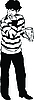 Vector clipart:  guy in striped sweater, eating sunflower seeds