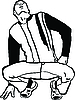 Vector clipart: guy sitting on his haunches looking at top