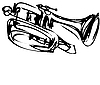 Vector clipart: of copper Cornet Musical Instrument